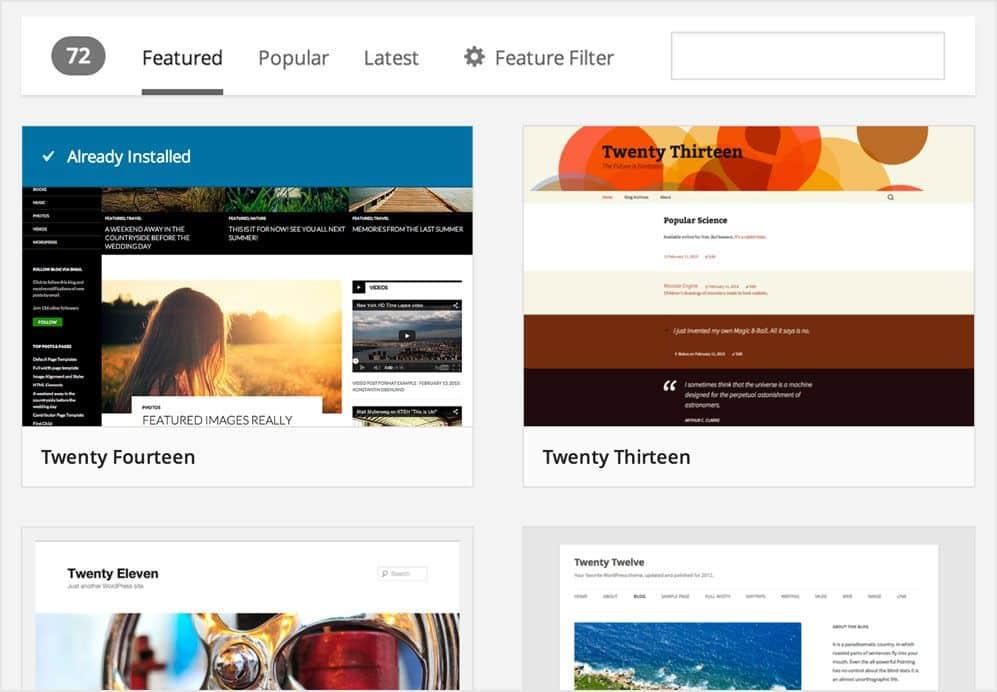 Sorprendente nuevo navegador de temas wordpress